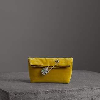Burberry The Small Pin Clutch in Velvet, Yellow