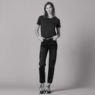 Sandro High-waisted jeans with embroidery
