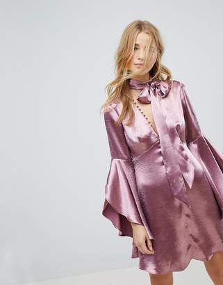 Honey Punch Long Sleeve Tea Dress With Button Front And Neck Tie In Premium Satin