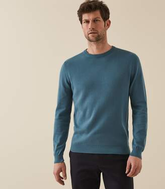 Reiss MAURICE COTTON CREW NECK JUMPER Petrol