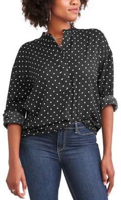 Time and Tru Women's Soft Peasant Shirt