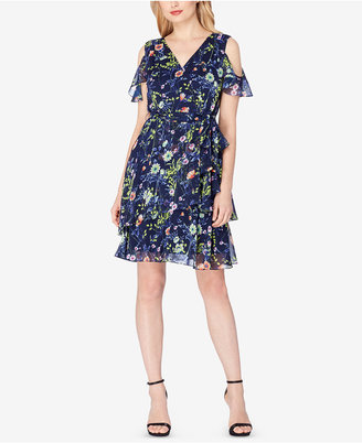 Tahari ASL Floral-Print Ruffled Cold-Shoulder Dress $118 thestylecure.com