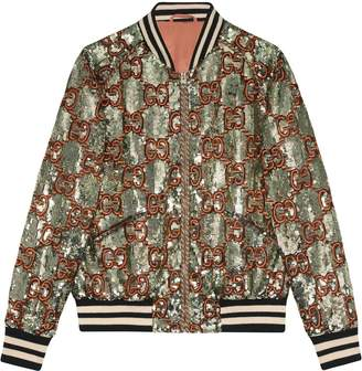 Gucci Sequin bomber jacket with GG embroidery