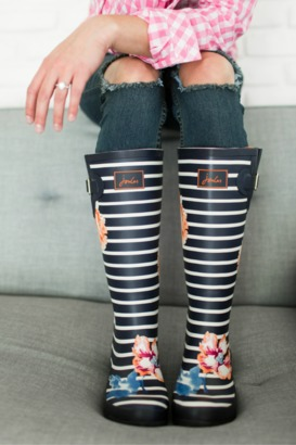 WellyPrint Rain Boots - Rose Stripe $52 thestylecure.com