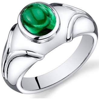 Oravo 2.50 Carat T.G.W. Men's Created Emerald Rhodium-Plated Sterling Silver Engagement Ring