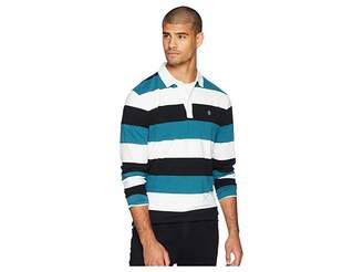 Original Penguin Long Sleeve Stripe Logo Rugby Polo
