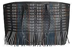 Akris Women's Medium AI Woven Fringe Lasercut Leather Tote