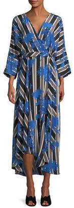Diane von Furstenberg Eloise Striped Asymmetric Midi Wrap Dress