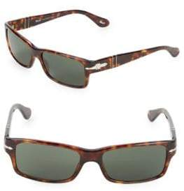 Persol 55MM Tortoiseshell Rectangular Sunglasses