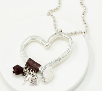 Uno de 50 Unode50 UNOde50 Silvertone Heart Charm Necklace- Love at First Sight