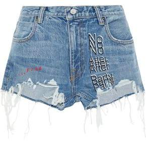 Alexander Wang Embroidered Distressed Denim Shorts