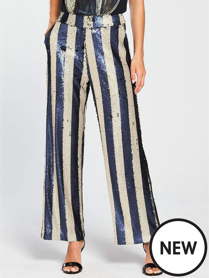 Lost Ink Sequin Stripe Trousers Ord - Navy/White