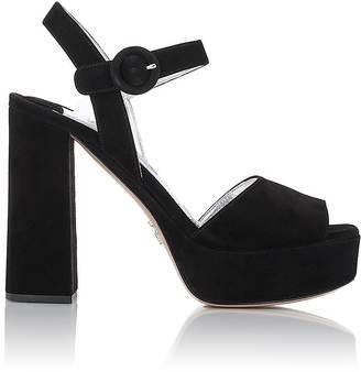 Prada Women's Suede Ankle-Strap Platform Sandals $820 thestylecure.com