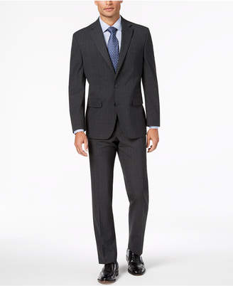 Club Room Men Classic-Fit Stretch Charcoal Windowpane Check Suit