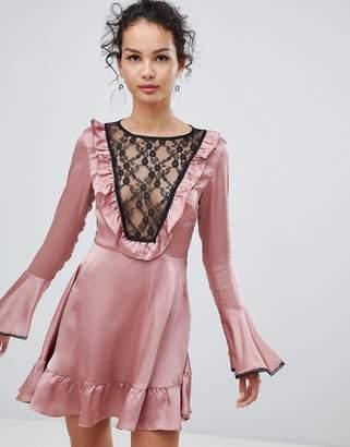 Glamorous satin skater dress with lace bib detail