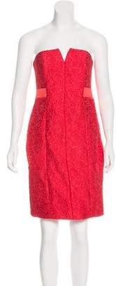 Halston Jacquard Strapless Dress