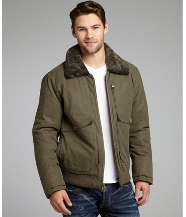 Cole Haan army green cotton-blend woven shearling trimmed bomber jacket