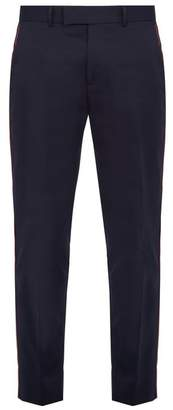 Gucci Side Stripe Cotton Trousers - Mens - Navy