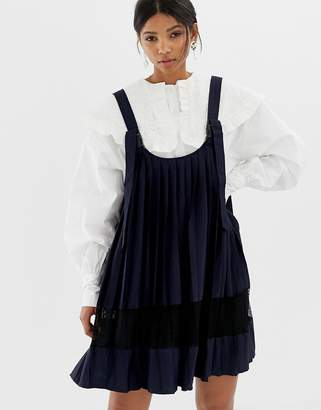 Ghospell mini smock pinafore dress with spot mesh insert 52b71ca85