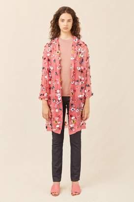 Mansur Gavriel Floral Embellished Classic Coat - Blush