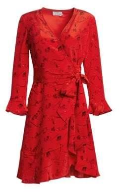 Tanya Taylor Brandy Zodiac Print Silk Wrap Dress