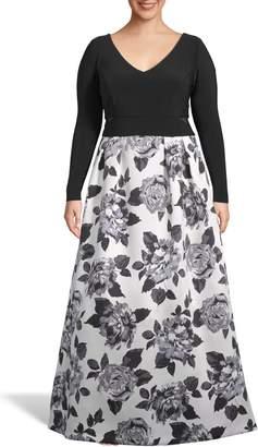 Xscape Evenings Floral Print Skirt Evening Dress