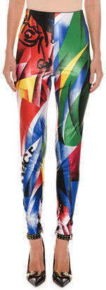 Versace Clash-Print Fitted Lycra® Leggings
