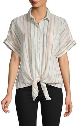 BeachLunchLounge Beach Lunch Lounge Striped Tie-Waist Shirt