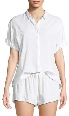 Xirena Channing Short-Sleeve Cotton Lounge Shirt