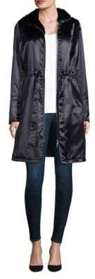 Jane Post Shiny Satin Faux Fur-Hooded Coat