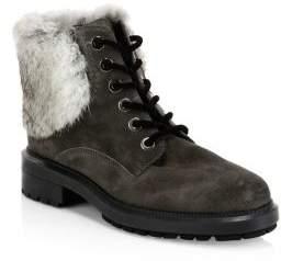Aquatalia Lacy Rabbit Fur and Shearling-Lined Combat Boots
