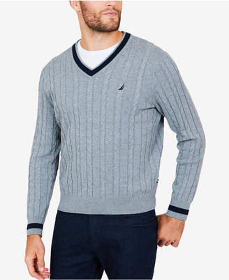 Nautica Men Cable-Knit Tipped Sweater