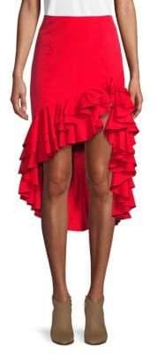 Caroline Constas Ruffled High-Low Pencil Skirt