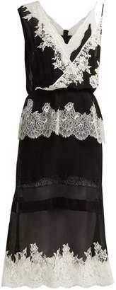 Altuzarra Lavanda Lace Trimmed Silk Georgette Midi Dress - Womens - Black White