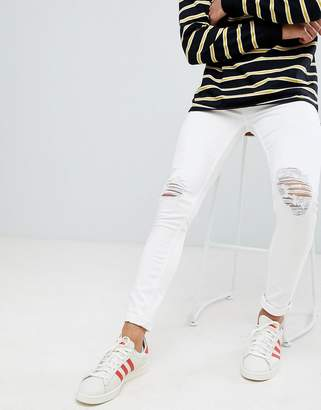 New Look super skinny jeans with knee rips in white