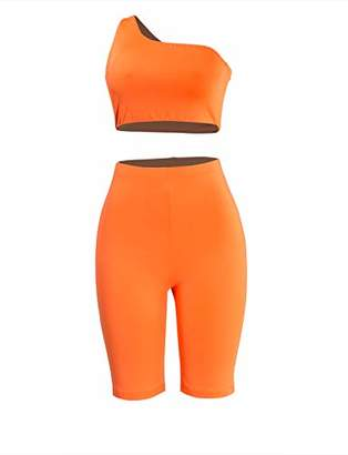 MEALIYA One Shoulder Crop Top Two Piece Outfits for Women Sexy High Waisted Shorts