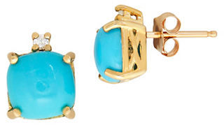 Lord & Taylor Turquoise, Diamond & 14K Yellow Gold Stud Earrings $950 thestylecure.com