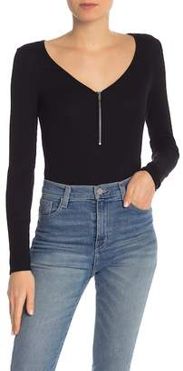 Splendid Zip Front Long Sleeve Bodysuit