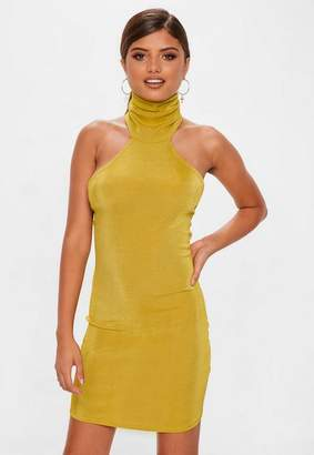 Missguided Chartreuse Slinky Cowl Mini Dress