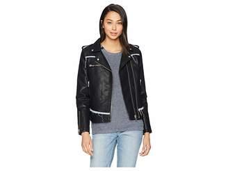 Blank NYC Vegan Leather Moto Jacket with Denim Detail in Thrasher