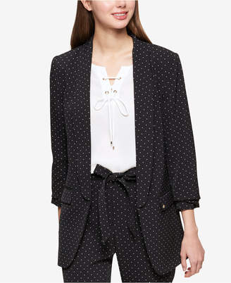 Tommy Hilfiger Dot-Print Ruched-Sleeve Jacket