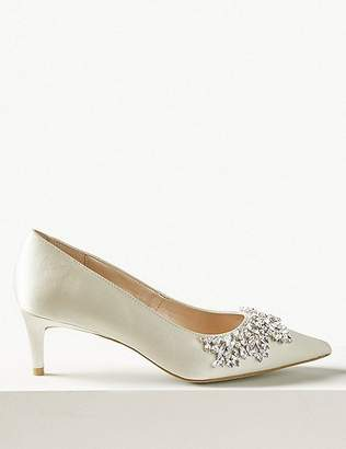 Marks and Spencer Satin Kitten Heel Trim Court Shoes