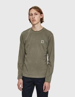 Stone Island L/S Garment Dyed Old Effect Tee in Washed Olive