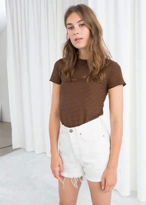 And other stories Striped Ruffle Hem Tee