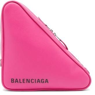 Balenciaga Triangle Pochette M Leather Clutch - Womens - Pink