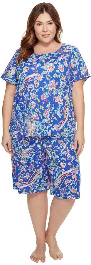 Lauren Ralph LaurenLAUREN Ralph Lauren - Plus Size Short Sleeve Bermuda PJ Set Women's Pajama Sets