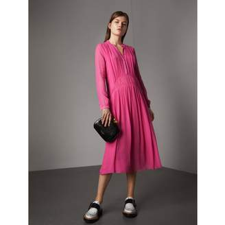 Burberry Gathered Silk Georgette Dress