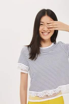 Topshop Stripe dobby trim t-shirt