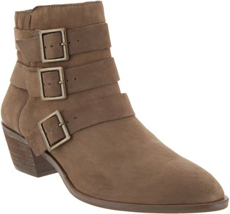 Sole Society Suede Triple Buckle Ankle Boots - Nelmaeya
