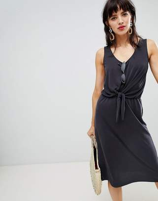 Warehouse midi dress with knot front in gray